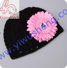 Solid Colors Cotton Baby Hat Summer Crochet Beanie Boy Funny Hats Baby Caps Child Hat With Flower