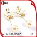 Algemas de orelha moda placa de ouro brincos mais recente projeto de brincos de pérola brincos de pérola de ouro