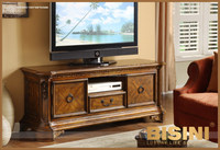 Luxury solid wood American style TV cabinet, hand carved TV stand