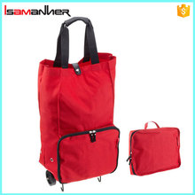 Collapsible wheeled trolley shopping cart bag, folding shopping trolley bag with 2 wheels