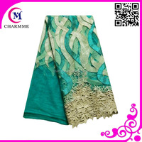Latest best sales design teal blue color tulle lace french net lace fabric for dresses