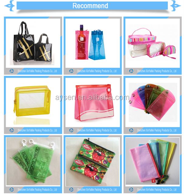 Plastic, pvc Material and Zipper Top Sealing & Handle Binder Pencil Pouch