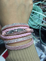 B1202-112 popular charm angel wing bracelet new arrival pink girls teen leather bracelet