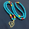 N195 Blue Turquoise Islamic Prayer Beads Necklace Muslim Allah Misbaha Muslim Necklace