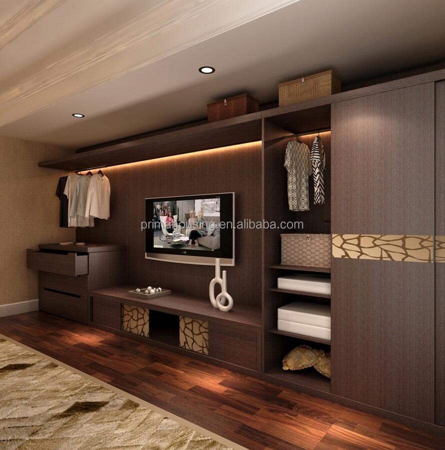 Bedroom closet wood built in wardrobe cabinet with sliding for Bedroom ideas with built in wardrobes