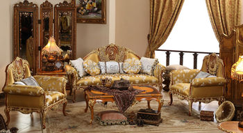 English vintage furniture living room gold painting sofa for Sofas tipo ingles