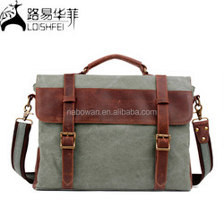 Canvas With Crazy Horse Leather Straps Hiking Men Messenger canvas duffle bag with leather trim