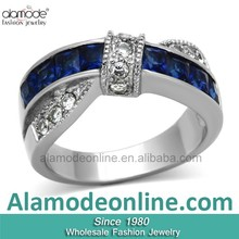 Wholesale Alibaba Gorgeous Two Tone Stainless Steel Synthetic Glass Ring