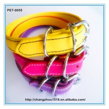 Plain Soft Leather Dog Pet Walking Collars With Metal Plain Buckle