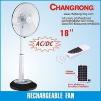 high quality AC/DC rechargeable emergency 18 inch dc fan 12 volt with led