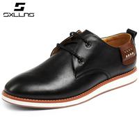 Fashion men's genuine cowhide leather shoes for men black color