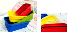 HOT!! silicone foiding lunch boxes of silicone materia