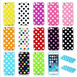 For iphone Candy Color Soft TPU Polka Dot Back Case Cover