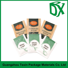 China supplier custom printed sugar packaging bag 3 side sealed flat pouch for sugar packaging