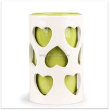 hot sale double wall layer valentine heart ceramic vase flowerport planter