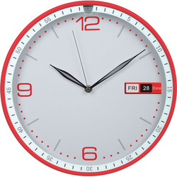 30cm red plastic case plastic wall clock with date & day display/ flip clock for office
