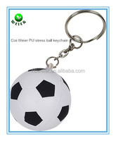 soft foam 4cm PU stress soccer ball keychain/soft toy PU foam soccer ball keychain/ball type PU stress soccer ball keychain