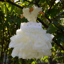 Luxury dog ruffled dress tutus puppy pets party wedding dresses clothes with pearls necklace