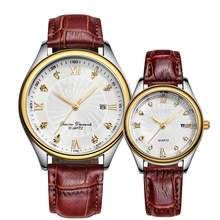2 tones plating couple watch 2015 hot sell high quality wrist leather watch
