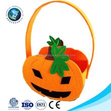 Wholesale cheap halloween gift idea fashion cute soft felt pumpkin halloween basket