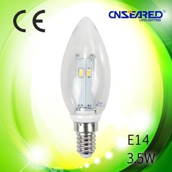 Omnidirectional frosted/clear 3.5w led candle bulbs