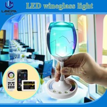 2015 LED Flashing cups,rechargeble 120lm Lighted Wine Glass, Light Up Party touch control by hands led wine glass light