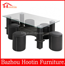 modern style simple design leather glass top coffee table with stools