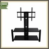 tv showcase designs stainless steel glass lcd TV stand RM002