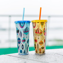 Promotion New Halloween plastic double wall cup with straw gift