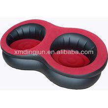 NEW HOT double round Flocked PVC air sofa