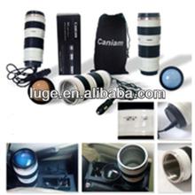 white plastic camera lens mug with coffee mug function for travel