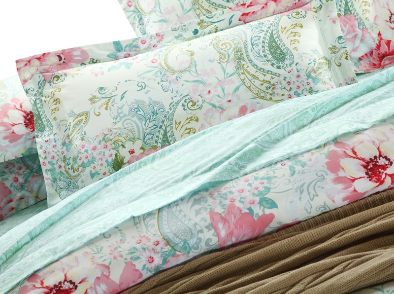 Egyptian cotton luxury mint green paisley bedding