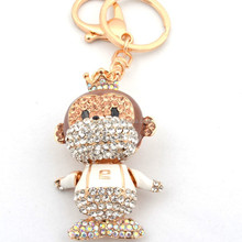 2015 fashion gifts&crafts gold custom mental keychains rhinestone monkey keychain in keychains