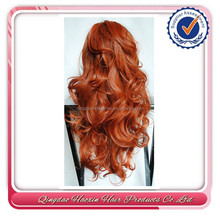 Hot 22 inch remy hair wave orange human hair wig