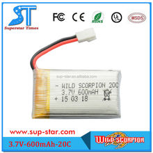 New arrival high density rechargeable 3.7V 20C 600mAh rc helicopter removable battery