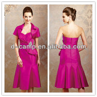 ME-234 Latest design hot pink two pieces tea length mother of the bride jacket dress