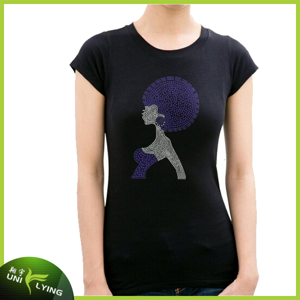 wholesale bling afro girl t shirt use hotfix rhinestone
