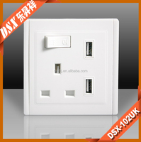 13A UK standard socket with USB port 5V/2.4A Double USB Electric Wall Plug Faceplate 2 USB Outlets with phone holder