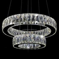 Modern LED Crystal Ring Chandelier Lamp Stainless Steel Cristal Pendant Hanging Light Suspension Lighting Fixture LED007/300+500