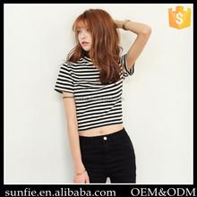 Fashiom stripe crop top high neck women's blouse Tshirt clothing