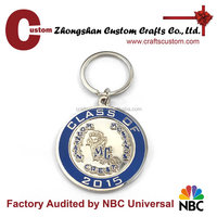 Promotional gifts factory custom 2015 school name metal keychain