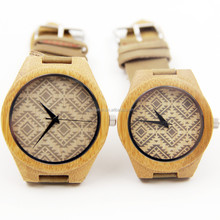 Natural Wood Watch For Lovers Couple watch bamboo wood watch leather strap