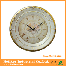 round old antique wall clock gold