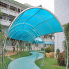 outdoor canopy metal roof with polycarbonate brown sheet