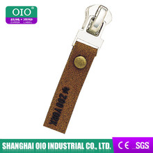 Oio fábrica durável prático couro Real puxador de zíper com #5 controles deslizantes de Metal e logotipo em relevo para jaqueta de couro