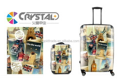 2014 Fashion Design and Colorful Transparent Clear Super Light Four Wheels 100% Pure PC Trolley Luggage