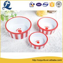 Wholesale cute printing color glaze ceramic dog cat pet food bowl