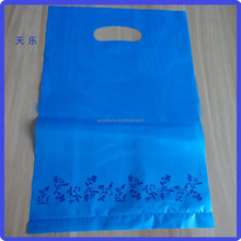 Blue or required color Christmas shopping die cut handle plastic bag for packaging gift