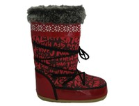 Women red snug fluffy moon boot