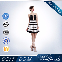 Fashion sleeveless beaded see through black and white organza short sexy japanese prom dress